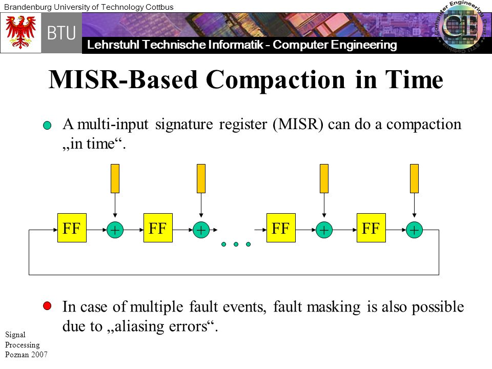Lehrstuhl Technische Informatik - Computer Engineering Brandenburg University of Technology Cottbus Signal Processing Poznan 2007 MISR-Based Compaction in Time A multi-input signature register (MISR) can do a compaction in time.