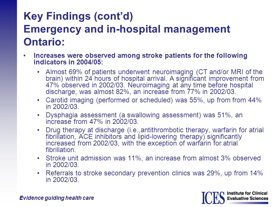 Evidence guiding health care Key Findings (contd) Emergency and in-hospital management Ontario: Increases were observed among stroke patients for the