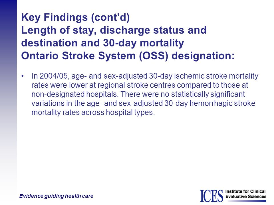 Evidence guiding health care Key Findings (contd) Length of stay, discharge status and destination and 30-day mortality Ontario Stroke System (OSS) de