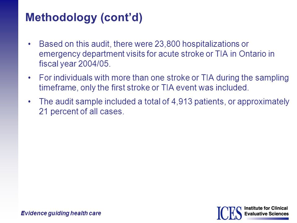 Evidence guiding health care Methodology (contd) Based on this audit, there were 23,800 hospitalizations or emergency department visits for acute stro