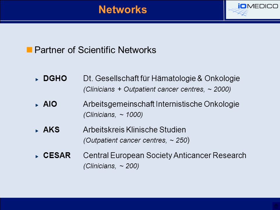 Networks Partner of Scientific Networks DGHODt.