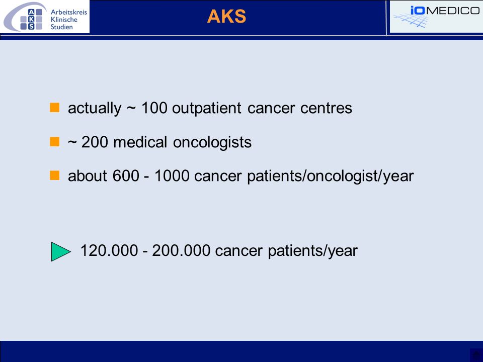 AKS actually ~ 100 outpatient cancer centres ~ 200 medical oncologists about 600 - 1000 cancer patients/oncologist/year 120.000 - 200.000 cancer patie