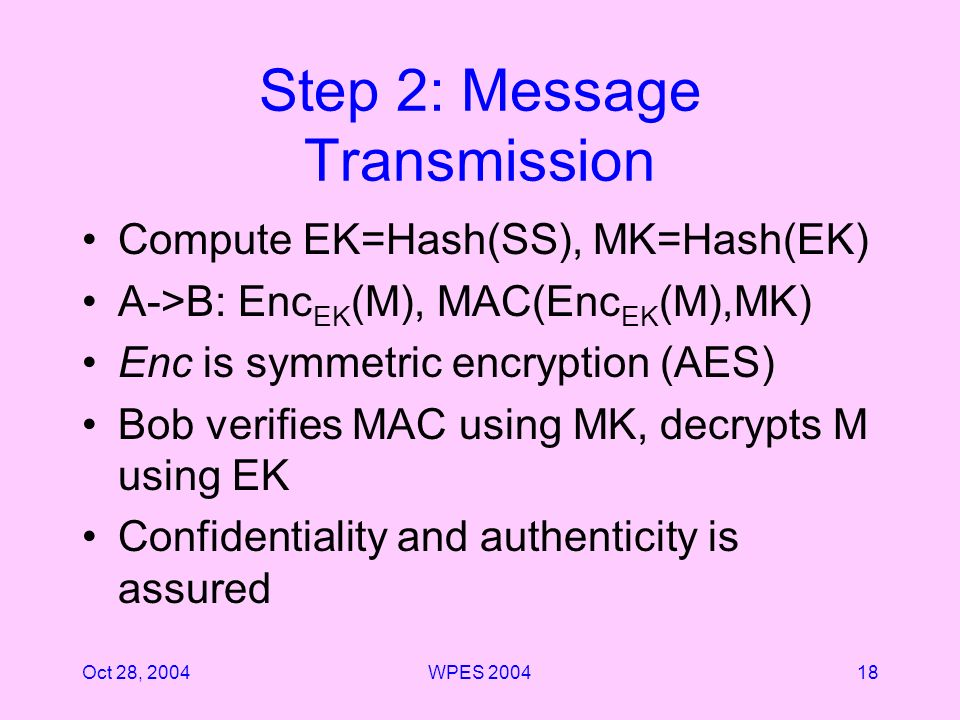 Oct 28, 2004WPES 200418 Step 2: Message Transmission Compute EK=Hash(SS), MK=Hash(EK) A->B: Enc EK (M), MAC(Enc EK (M),MK) Enc is symmetric encryption (AES) Bob verifies MAC using MK, decrypts M using EK Confidentiality and authenticity is assured