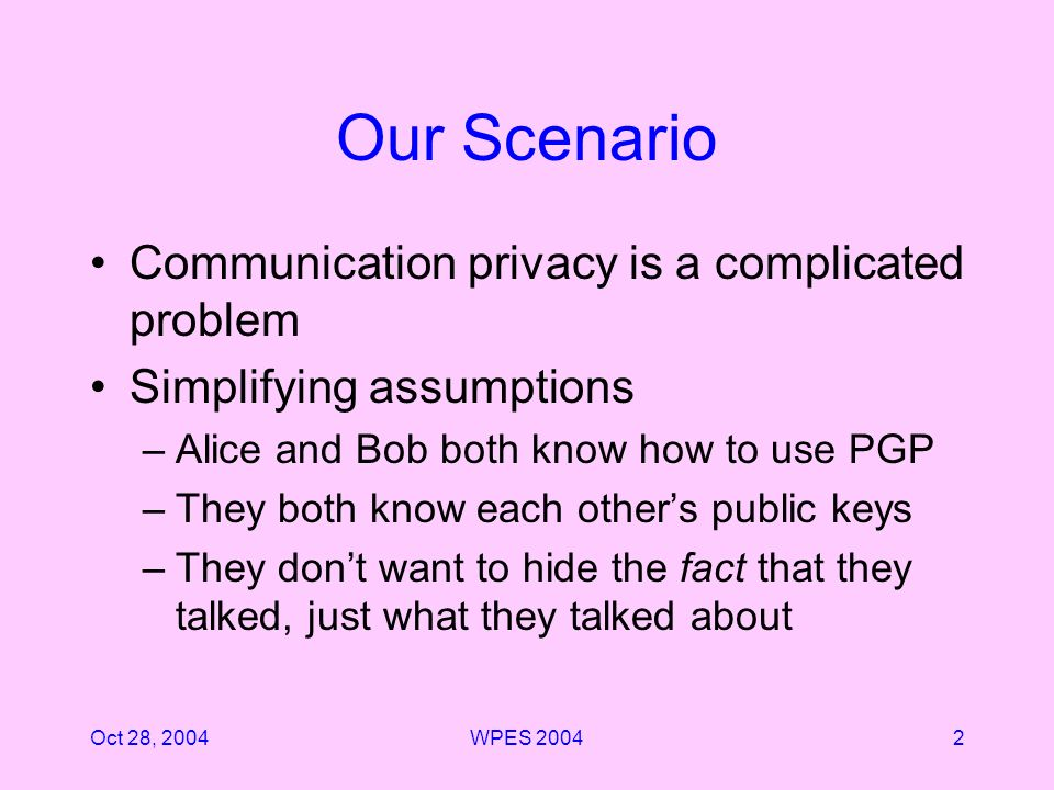 Oct 28, 2004WPES 20042 Our Scenario Communication privacy is a complicated problem Simplifying assumptions –Alice and Bob both know how to use PGP –They both know each others public keys –They dont want to hide the fact that they talked, just what they talked about