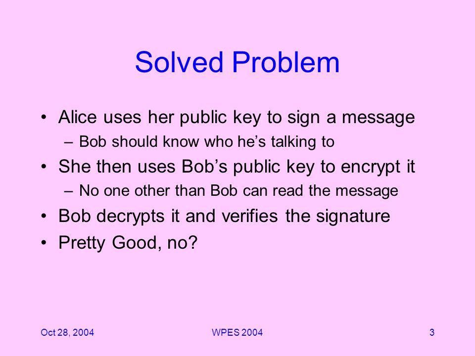 Oct 28, 2004WPES 20044 Threat Model The Internet Alice Bob Bad Guys