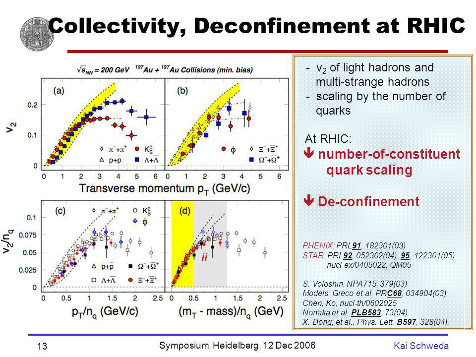 Symposium, Heidelberg, 12 Dec 2006 Kai Schweda 13 Collectivity, Deconfinement at RHIC - v 2 of light hadrons and multi-strange hadrons - scaling by th