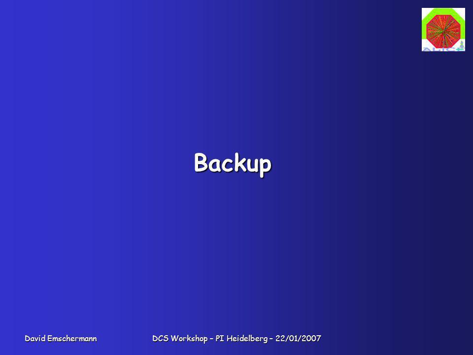 David Emschermann DCS Workshop – PI Heidelberg – 22/01/2007 Backup