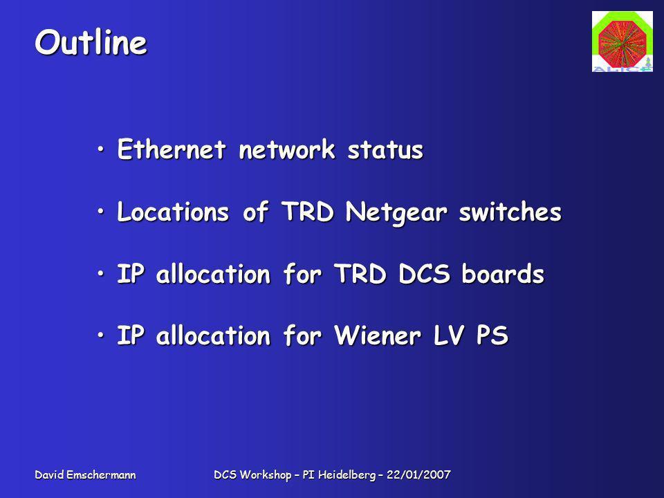 David Emschermann DCS Workshop – PI Heidelberg – 22/01/2007 Outline Ethernet network status Ethernet network status Locations of TRD Netgear switches