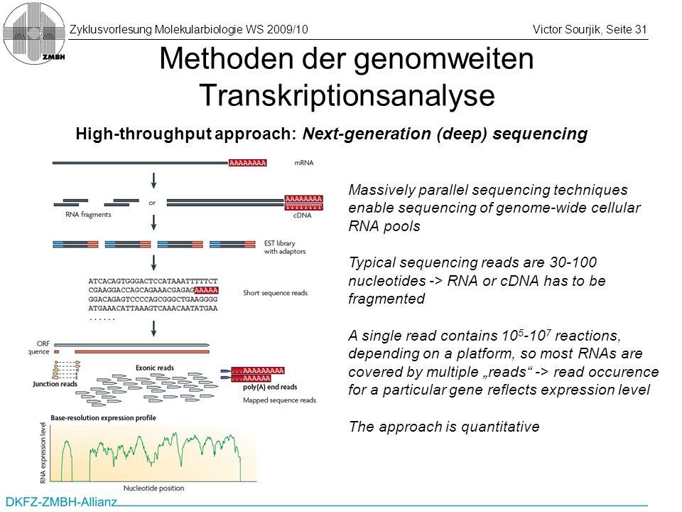 Zyklusvorlesung Molekularbiologie WS 2009/10Victor Sourjik, Seite 31 Methoden der genomweiten Transkriptionsanalyse High-throughput approach: Next-gen