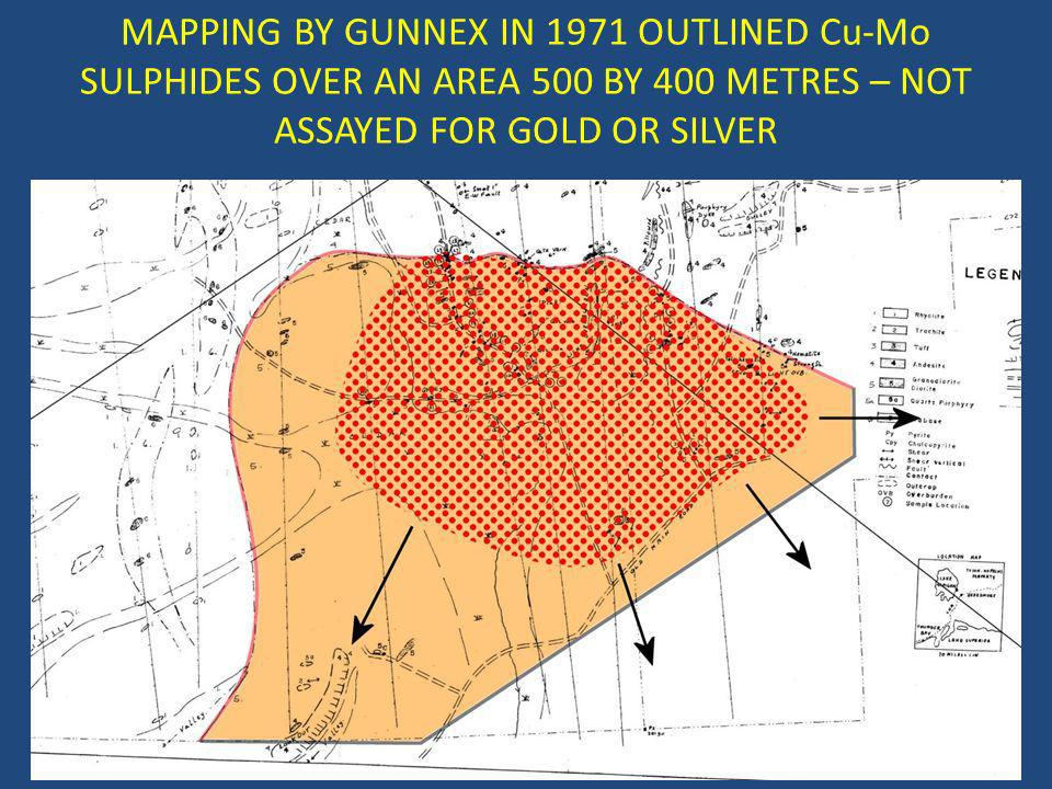 MAPPING BY GUNNEX IN 1971 OUTLINED Cu-Mo SULPHIDES OVER AN AREA 500 BY 400 METRES – NOT ASSAYED FOR GOLD OR SILVER