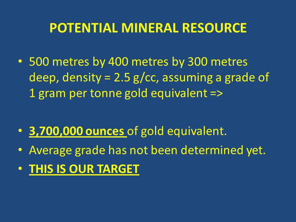 POTENTIAL MINERAL RESOURCE 500 metres by 400 metres by 300 metres deep, density = 2.5 g/cc, assuming a grade of 1 gram per tonne gold equivalent => 3,