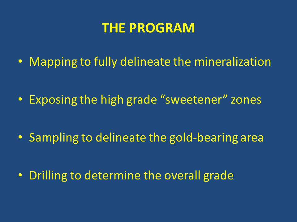 THE PROGRAM Mapping to fully delineate the mineralization Exposing the high grade sweetener zones Sampling to delineate the gold-bearing area Drilling to determine the overall grade