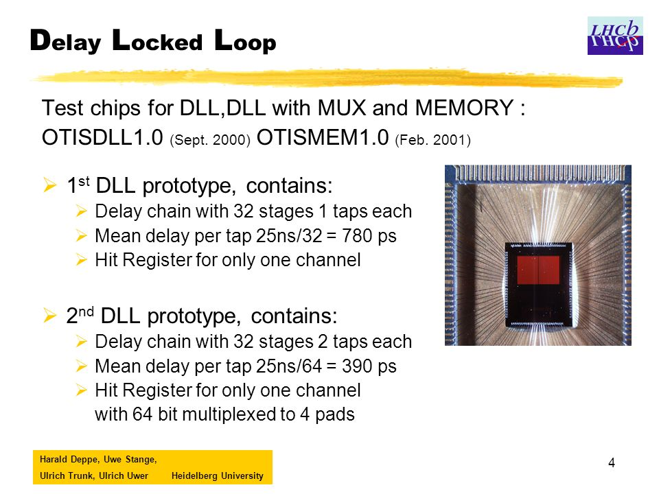 Harald Deppe, Uwe Stange, Ulrich Trunk, Ulrich UwerHeidelberg University 4 D elay L ocked L oop Test chips for DLL,DLL with MUX and MEMORY : OTISDLL1.0 (Sept.