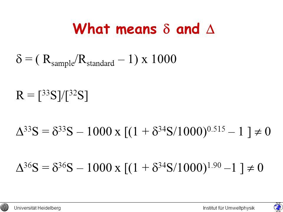 What means and = ( R sample /R standard – 1) x 1000 R = [ 33 S]/[ 32 S] 33 S = 33 S – 1000 x [(1 + 34 S/1000) 0.515 – 1 ] 0 36 S = 36 S – 1000 x [(1 +