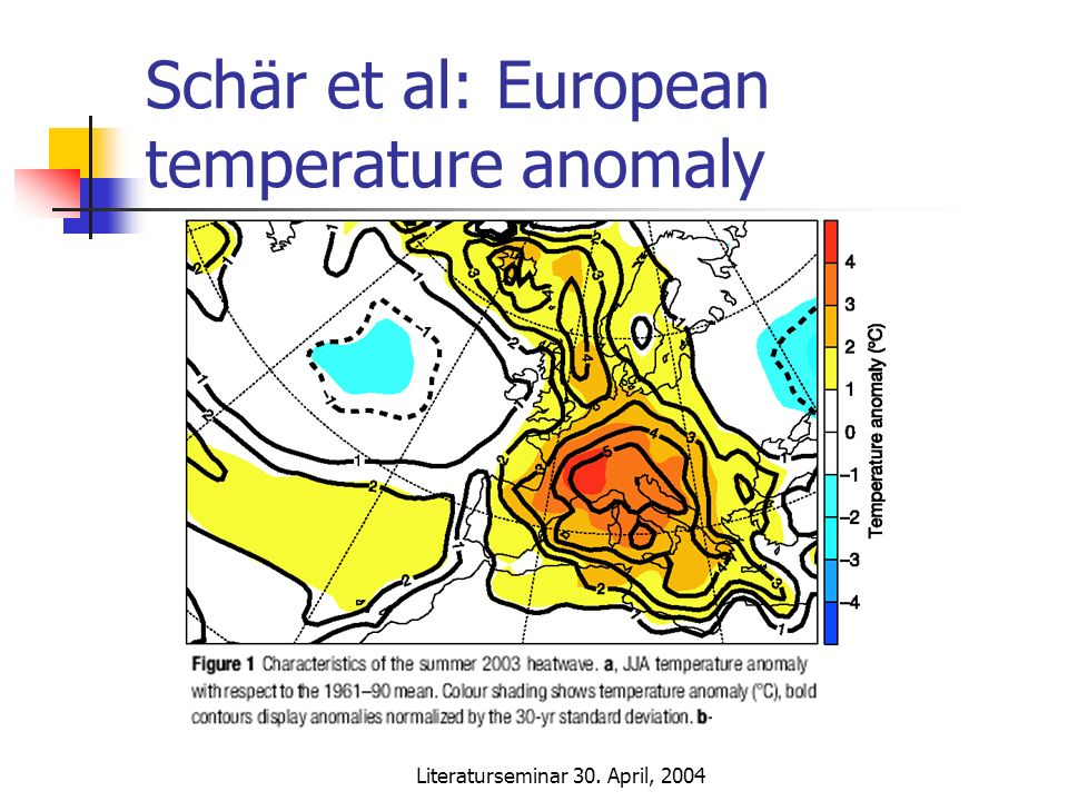 Literaturseminar 30. April, 2004 Schär et al: European temperature anomaly