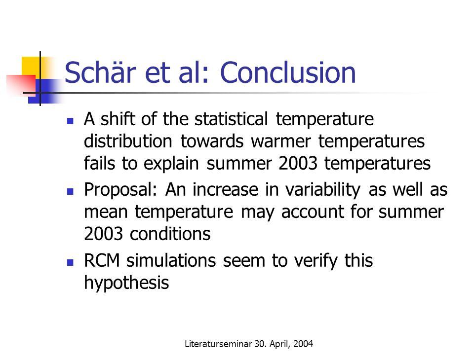 Literaturseminar 30. April, 2004 Schär et al: Conclusion A shift of the statistical temperature distribution towards warmer temperatures fails to expl