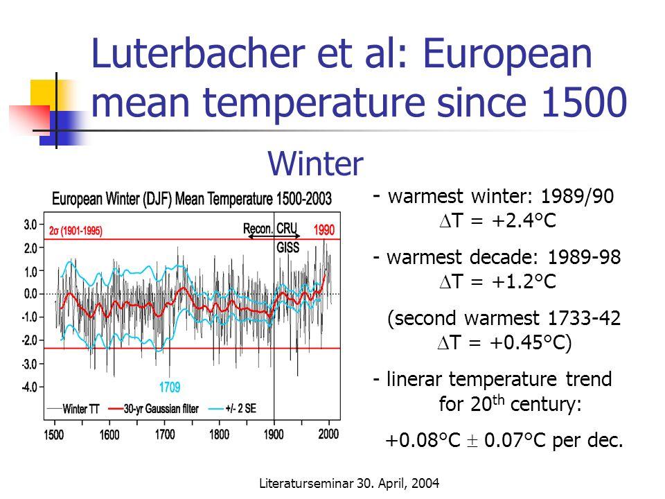 Literaturseminar 30. April, 2004 Luterbacher et al: European mean temperature since 1500 - warmest winter: 1989/90 T = +2.4°C - warmest decade: 1989-9