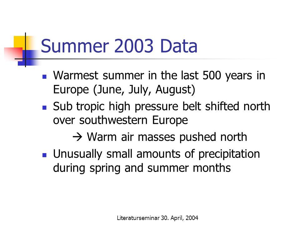 Literaturseminar 30. April, 2004 Summer 2003 Data Warmest summer in the last 500 years in Europe (June, July, August) Sub tropic high pressure belt sh