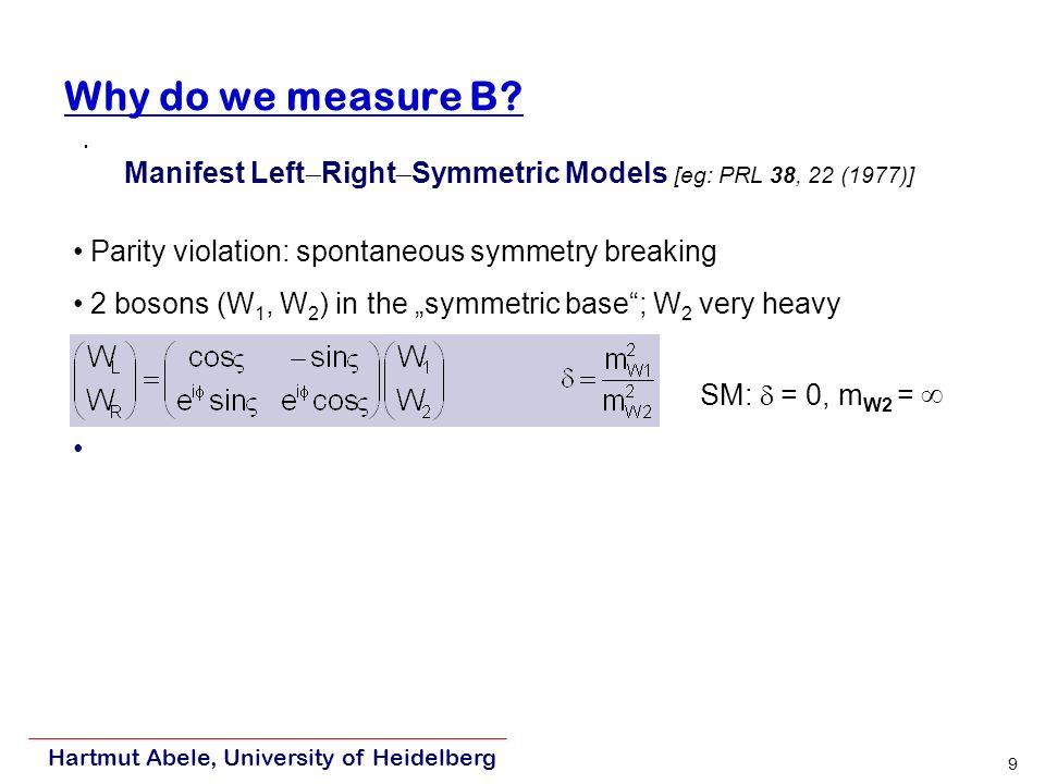 Hartmut Abele, University of Heidelberg 9 Parity violation: spontaneous symmetry breaking 2 bosons (W 1, W 2 ) in the symmetric base; W 2 very heavy SM: = 0, m W2 = Why do we measure B.