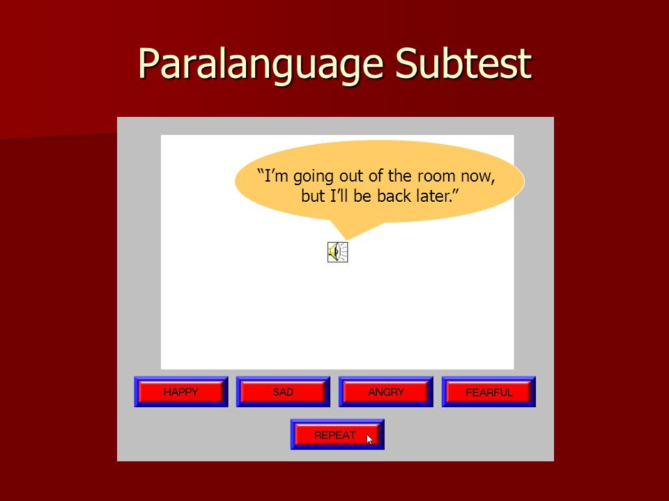 Paralanguage Subtest Im going out of the room now, but Ill be back later.