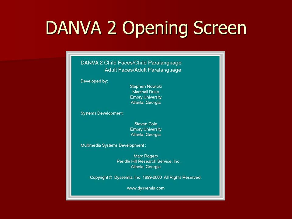 DANVA 2 Opening Screen