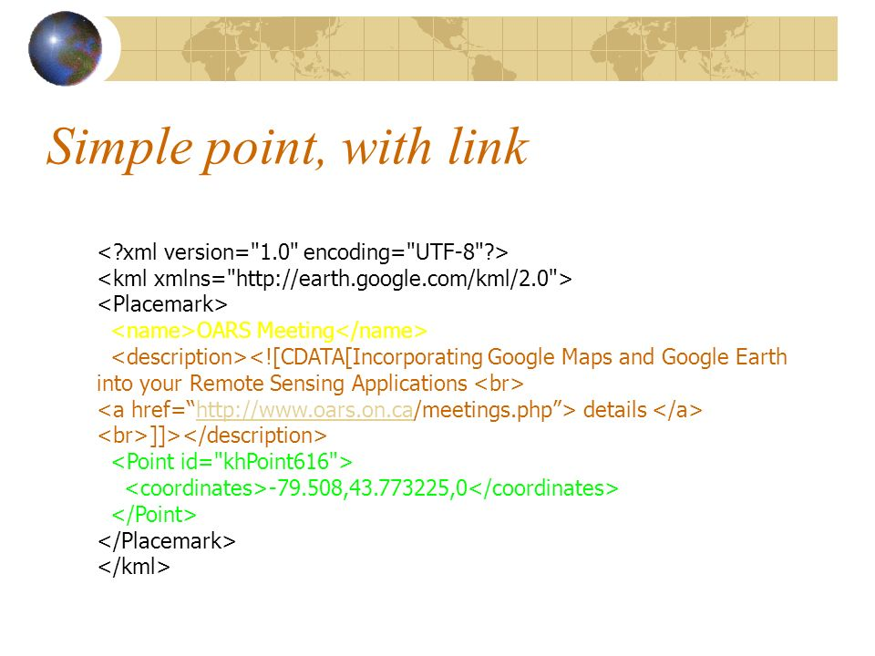 Simple point, with link OARS Meeting details http://www.oars.on.ca ]]> -79.508,43.773225,0