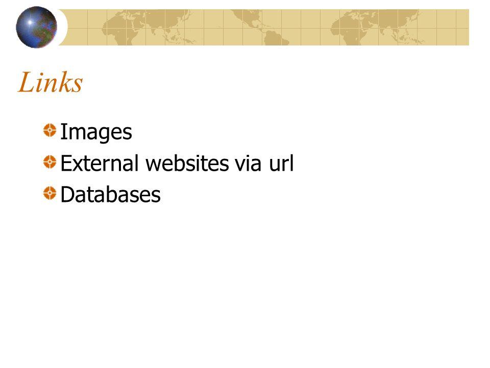 Links Images External websites via url Databases