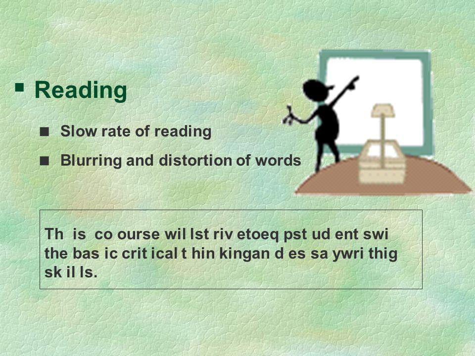 Reading Slow rate of reading Blurring and distortion of words Th is co ourse wil lst riv etoeq pst ud ent swi the bas ic crit ical t hin kingan d es s