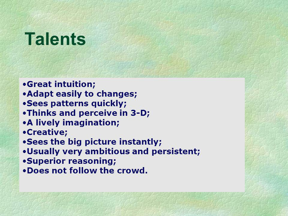 Talents Albert Einstein Great intuition; Adapt easily to changes; Sees patterns quickly; Thinks and perceive in 3-D; A lively imagination; Creative; S