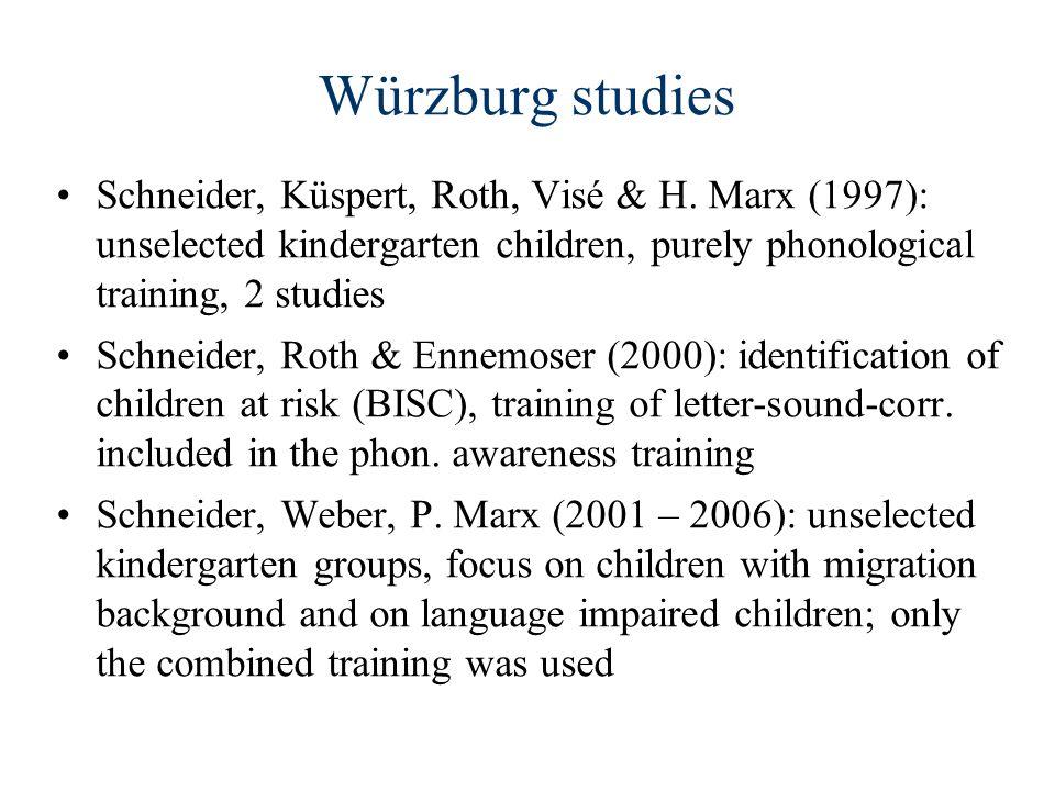 Würzburg studies Schneider, Küspert, Roth, Visé & H. Marx (1997): unselected kindergarten children, purely phonological training, 2 studies Schneider,