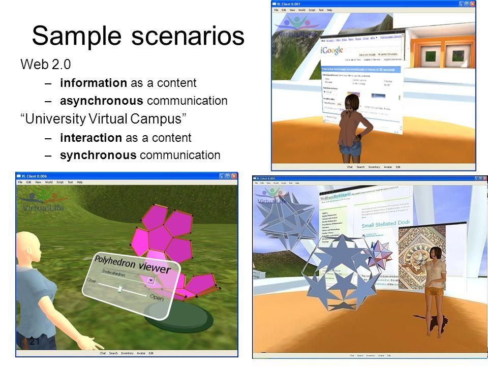 Sample scenarios Web 2.0 –information as a content –asynchronous communication University Virtual Campus –interaction as a content –synchronous commun
