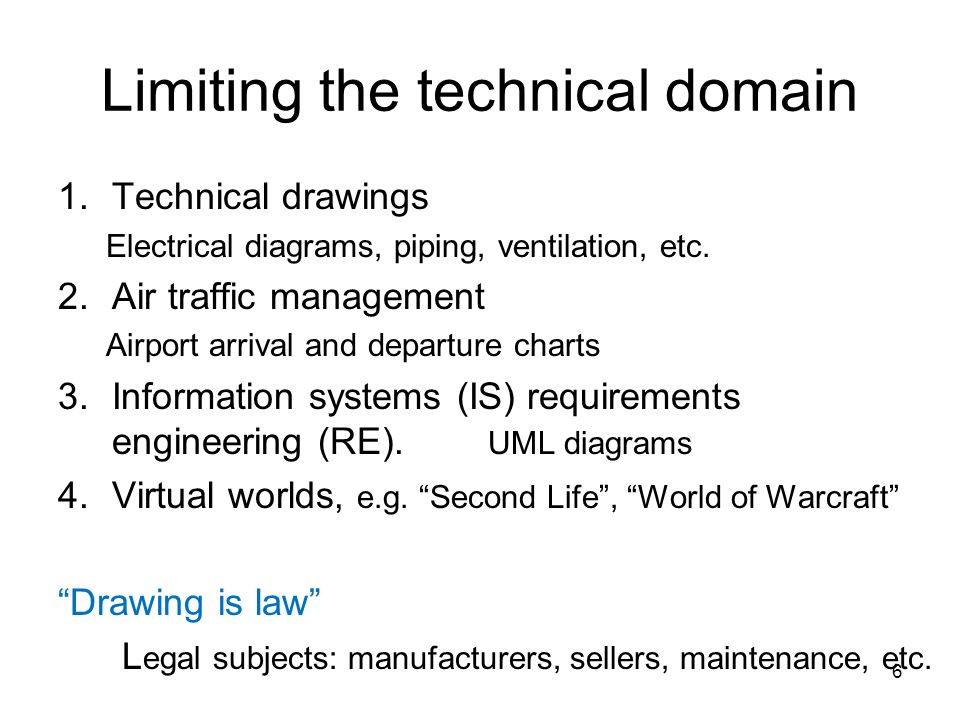 Limiting the technical domain 1.Technical drawings Electrical diagrams, piping, ventilation, etc. 2.Air traffic management Airport arrival and departu