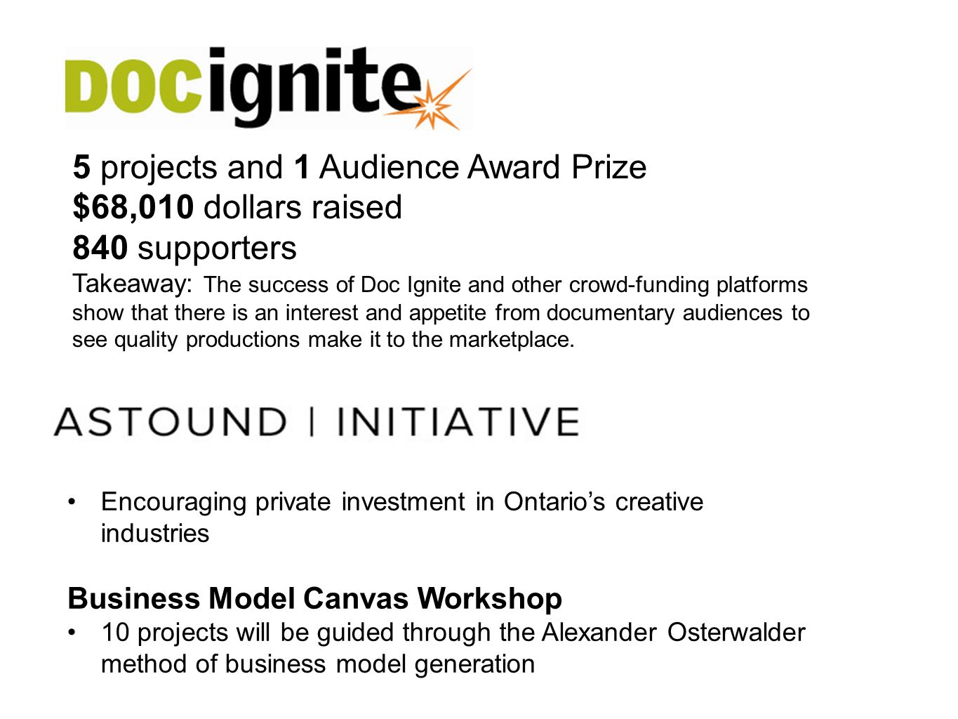 Encouraging private investment in Ontarios creative industries Business Model Canvas Workshop 10 projects will be guided through the Alexander Osterwa