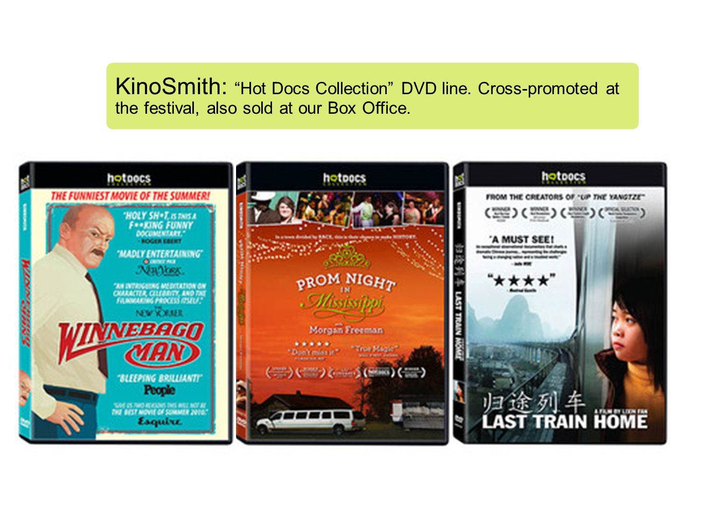 KinoSmith: Hot Docs Collection DVD line. Cross-promoted at the festival, also sold at our Box Office.