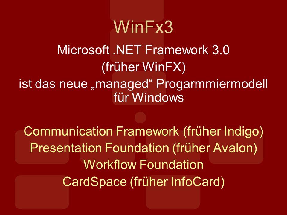 WinFx3 Microsoft.NET Framework 3.0 (früher WinFX) ist das neue managed Progarmmiermodell für Windows Communication Framework (früher Indigo) Presentation Foundation (früher Avalon) Workflow Foundation CardSpace (früher InfoCard)