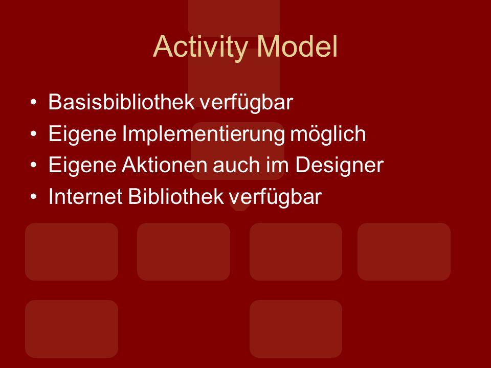 Activity Model Basisbibliothek verfügbar Eigene Implementierung möglich Eigene Aktionen auch im Designer Internet Bibliothek verfügbar