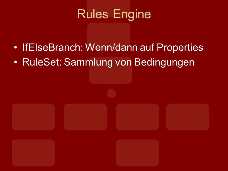 Rules Engine IfElseBranch: Wenn/dann auf Properties RuleSet: Sammlung von Bedingungen