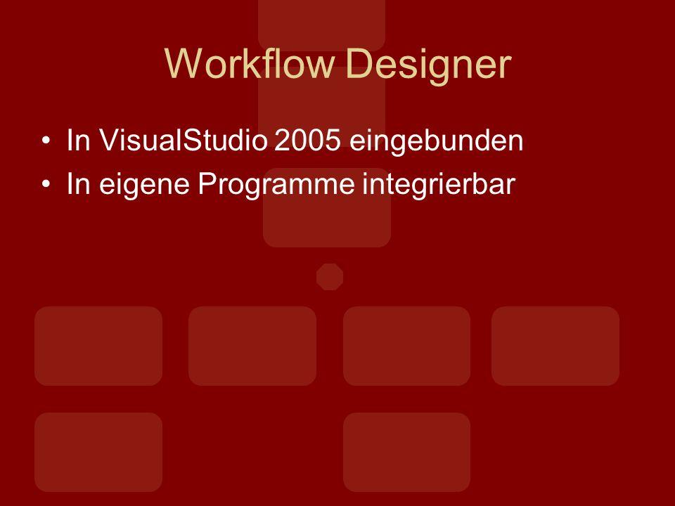 Workflow Designer In VisualStudio 2005 eingebunden In eigene Programme integrierbar