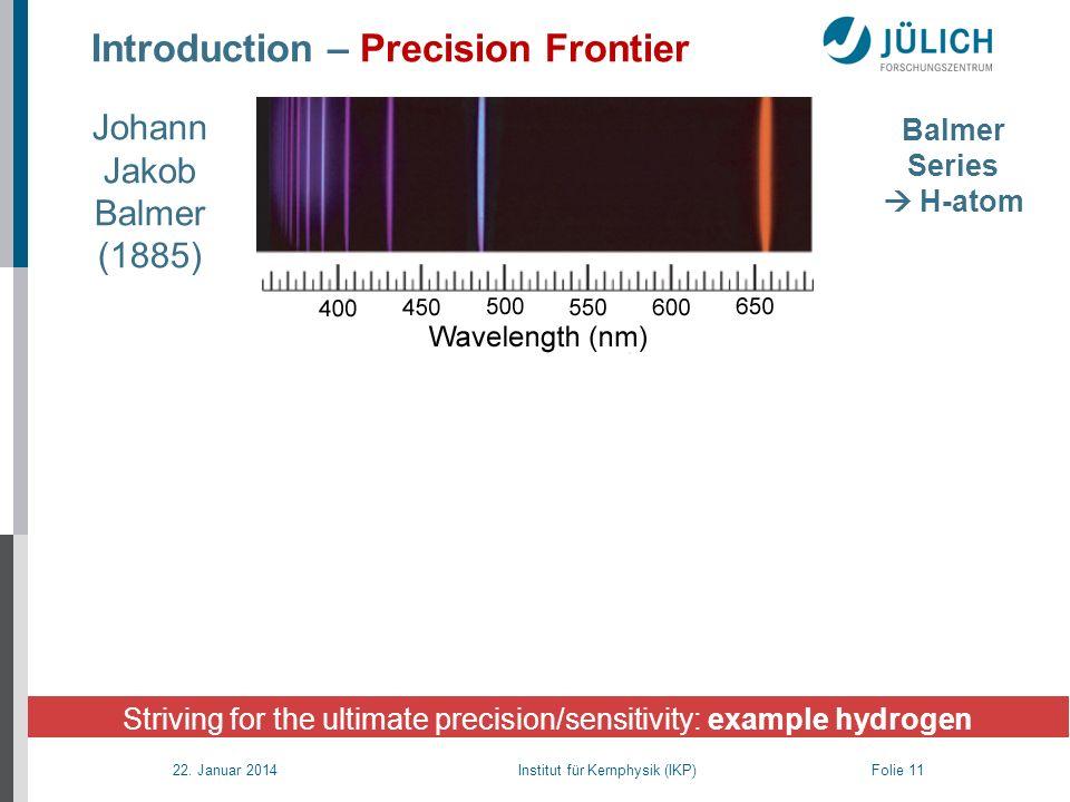 22. Januar 2014 Institut für Kernphysik (IKP) Folie 11 Introduction – Precision Frontier Striving for the ultimate precision/sensitivity: example hydr