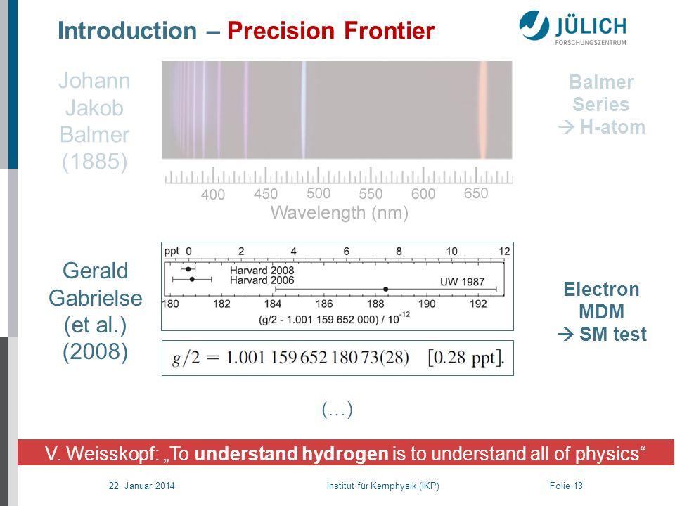 22. Januar 2014 Institut für Kernphysik (IKP) Folie 13 Introduction – Precision Frontier V. Weisskopf: To understand hydrogen is to understand all of