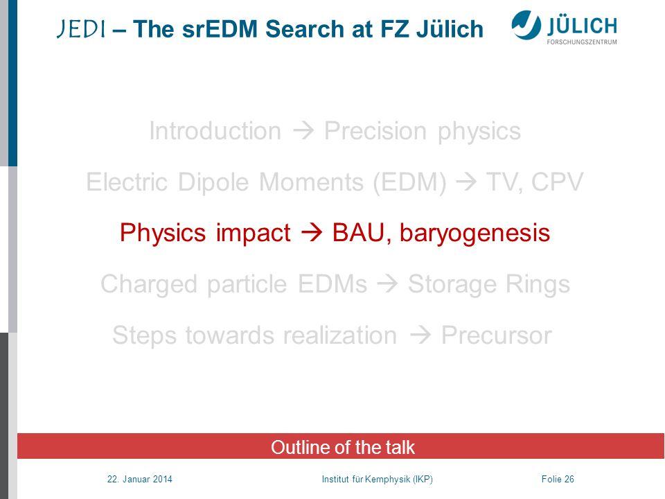 22. Januar 2014 Institut für Kernphysik (IKP) Folie 26 JEDI – The srEDM Search at FZ Jülich Outline of the talk Introduction Precision physics Electri