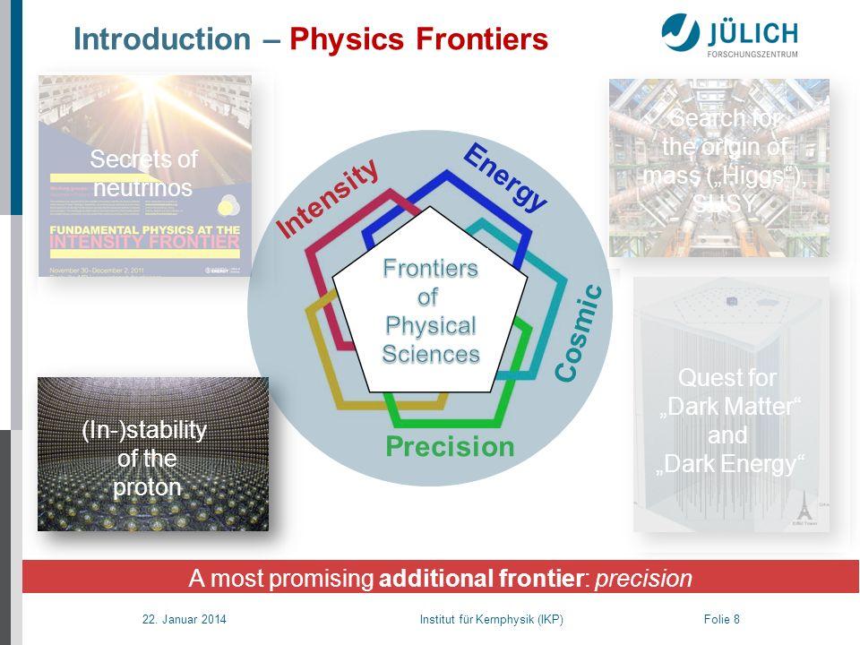 22. Januar 2014 Institut für Kernphysik (IKP) Folie 8 Secrets of neutrinos Introduction – Physics Frontiers A most promising additional frontier: prec