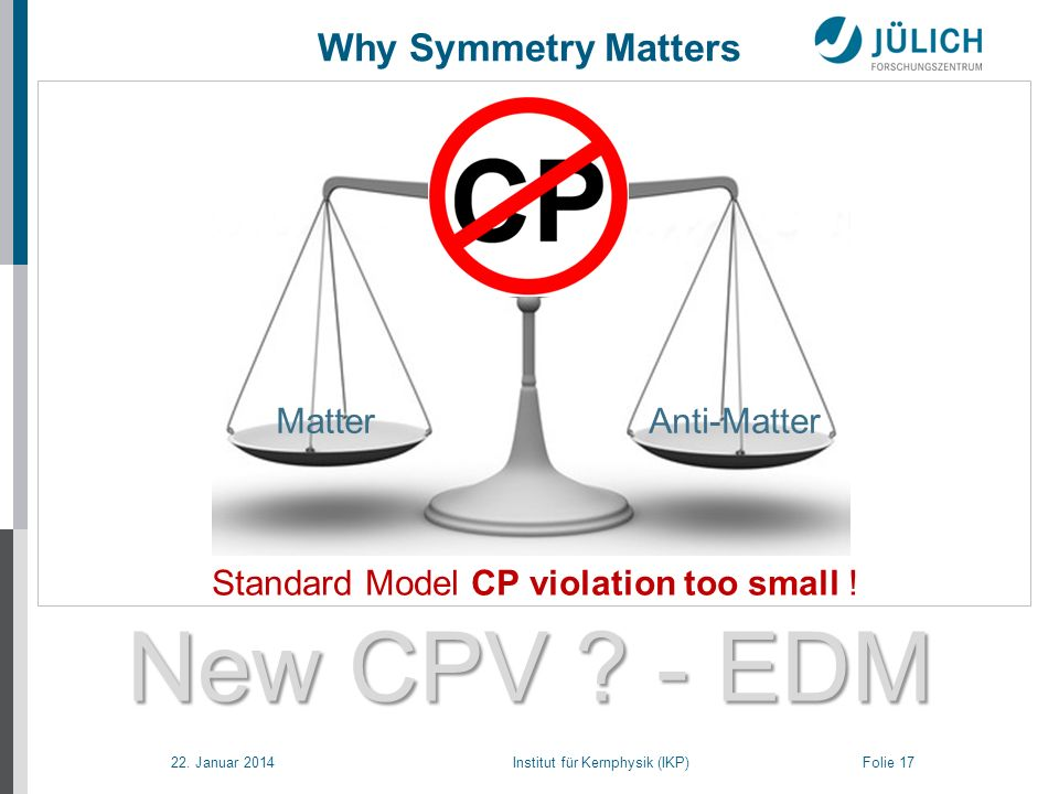 22. Januar 2014 Institut für Kernphysik (IKP) Folie 17 New CPV ? - EDM New CPV ? - EDM Why Symmetry Matters Standard Model CP violation too small ! Ma