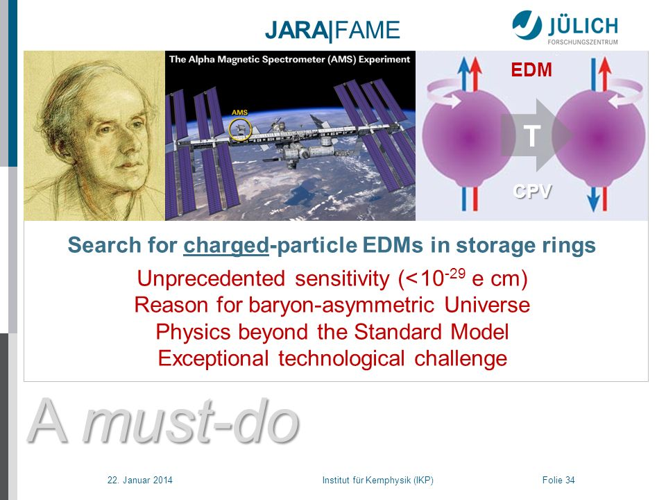 22. Januar 2014 Institut für Kernphysik (IKP) Folie 34 A must-do A must-do and can-do ! JARA|FAME CPV Search for charged-particle EDMs in storage ring