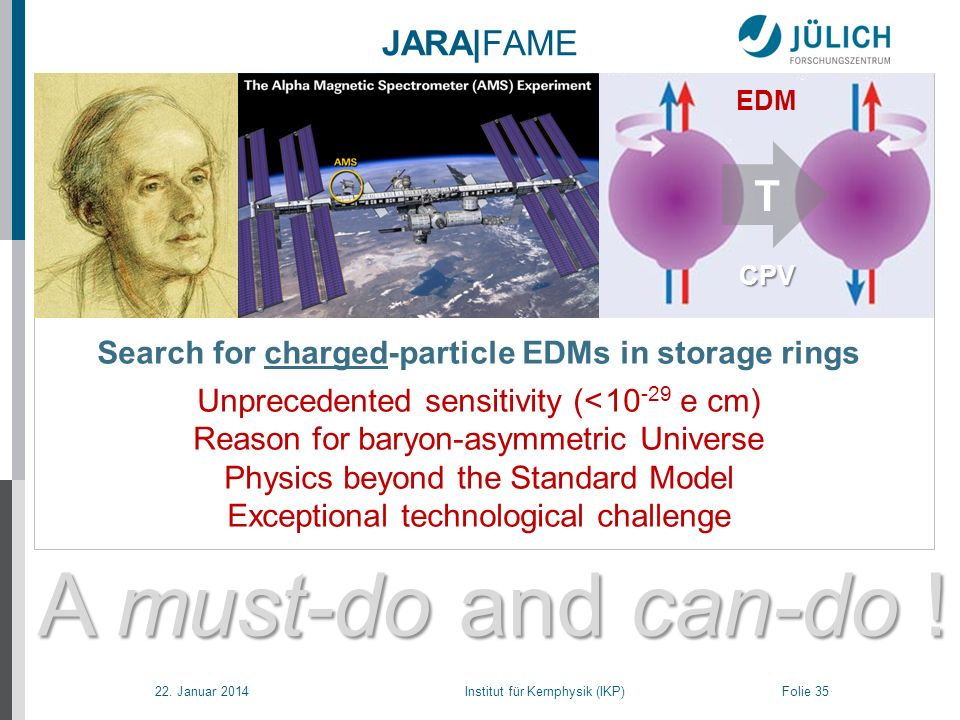 22. Januar 2014 Institut für Kernphysik (IKP) Folie 35 A must-do and can-do ! JARA|FAME Search for charged-particle EDMs in storage rings Unprecedente