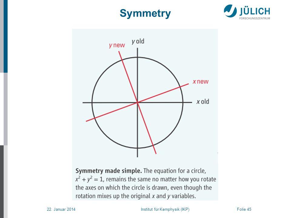 22. Januar 2014 Institut für Kernphysik (IKP) Folie 45 Symmetry