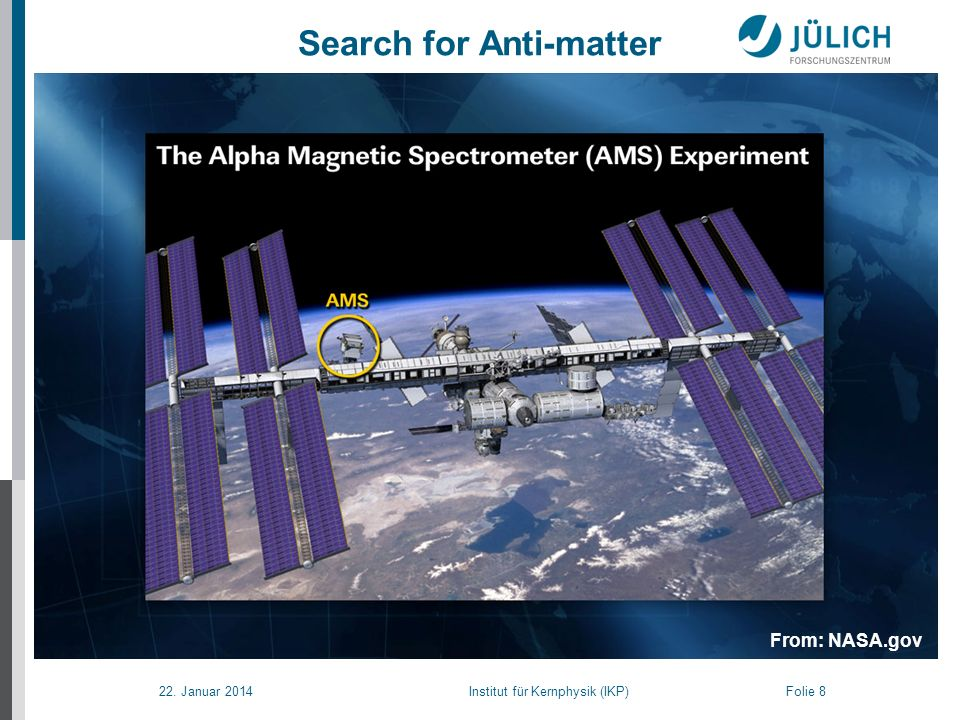22. Januar 2014 Institut für Kernphysik (IKP) Folie 8 Search for Anti-matter From: NASA.gov
