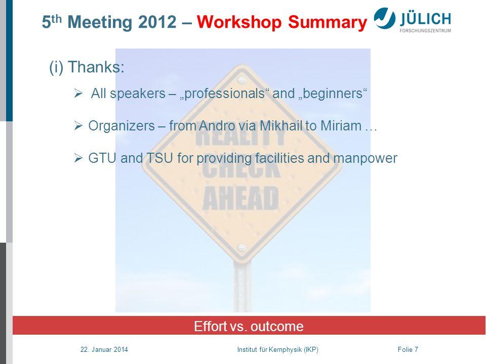 22. Januar 2014 Institut für Kernphysik (IKP) Folie 7 5 th Meeting 2012 – Workshop Summary Effort vs. outcome (i) Thanks: All speakers – professionals