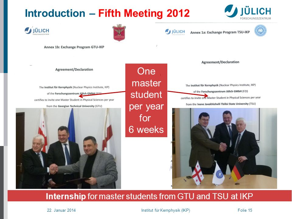 22. Januar 2014 Institut für Kernphysik (IKP) Folie 15 Introduction – Fifth Meeting 2012 Internship for master students from GTU and TSU at IKP One ma