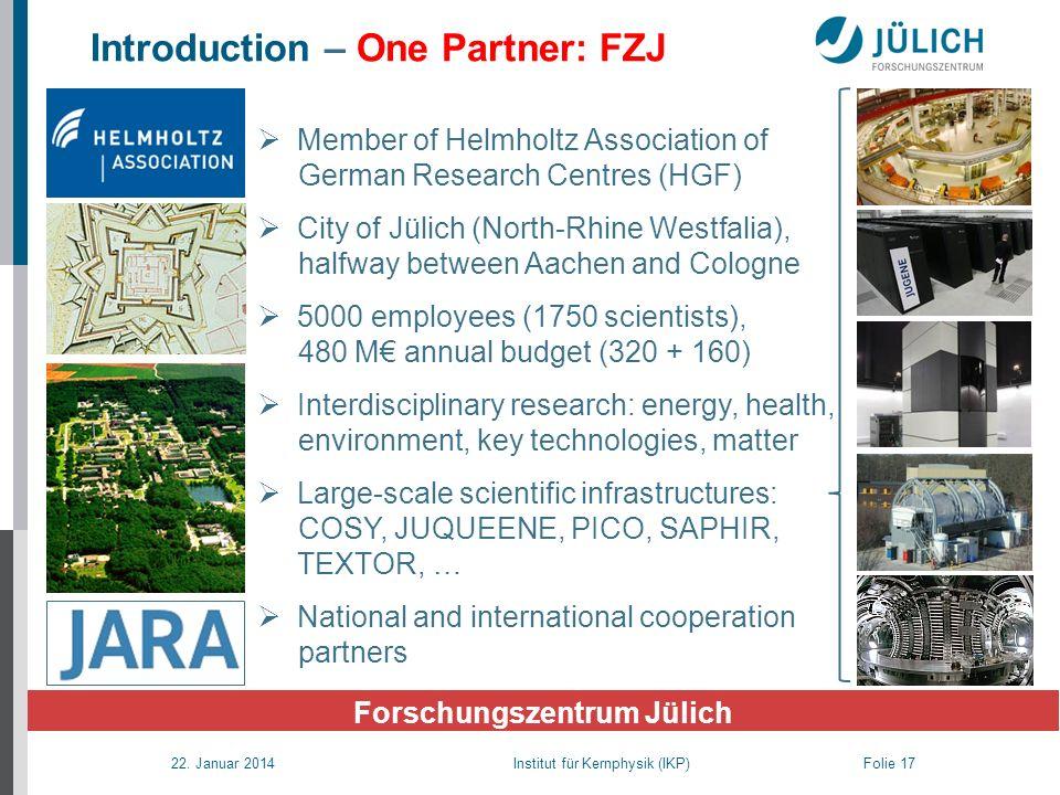 22. Januar 2014 Institut für Kernphysik (IKP) Folie 17 Introduction – One Partner: FZJ Forschungszentrum Jülich Member of Helmholtz Association of Ger